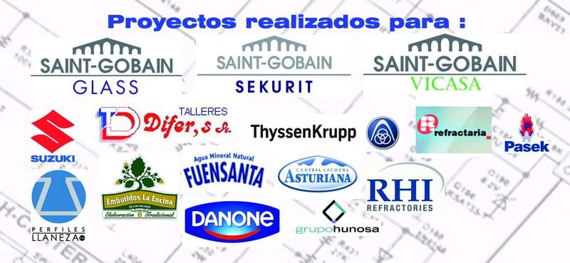 Cuadro de empresas que han confiado en nostros para instalaciones llave en mano